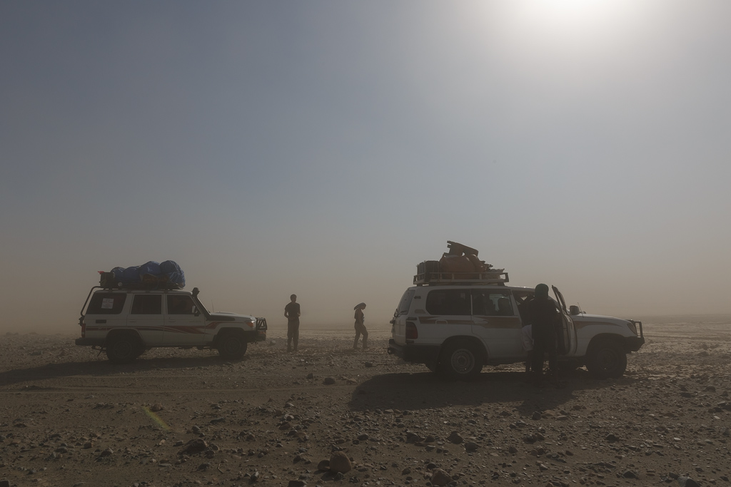 Our journey to the Danakil. Temperatures soared up to 48 degrees Centigrade, and the dust made it quite hard to shoot.