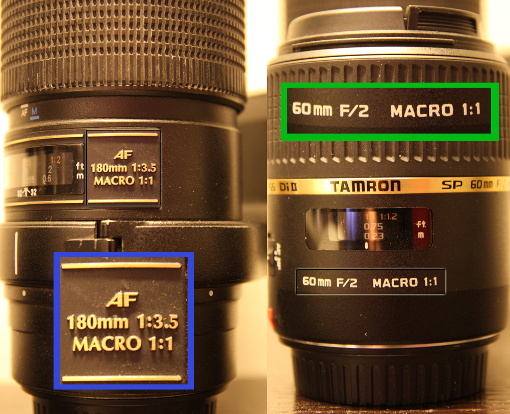 Modern true-macro lenses have the inscription 'macro 1:1' to indicate their capabilities.