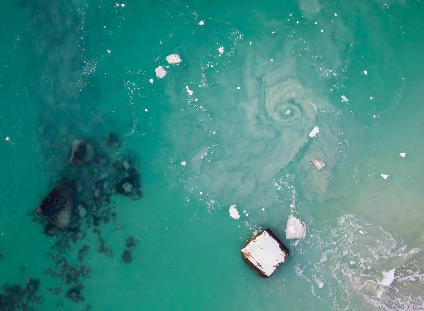 This amazing whirlpool was hiding about 10-20 meters from where I was standing. There was no way I could've detected or shot it without the drone.