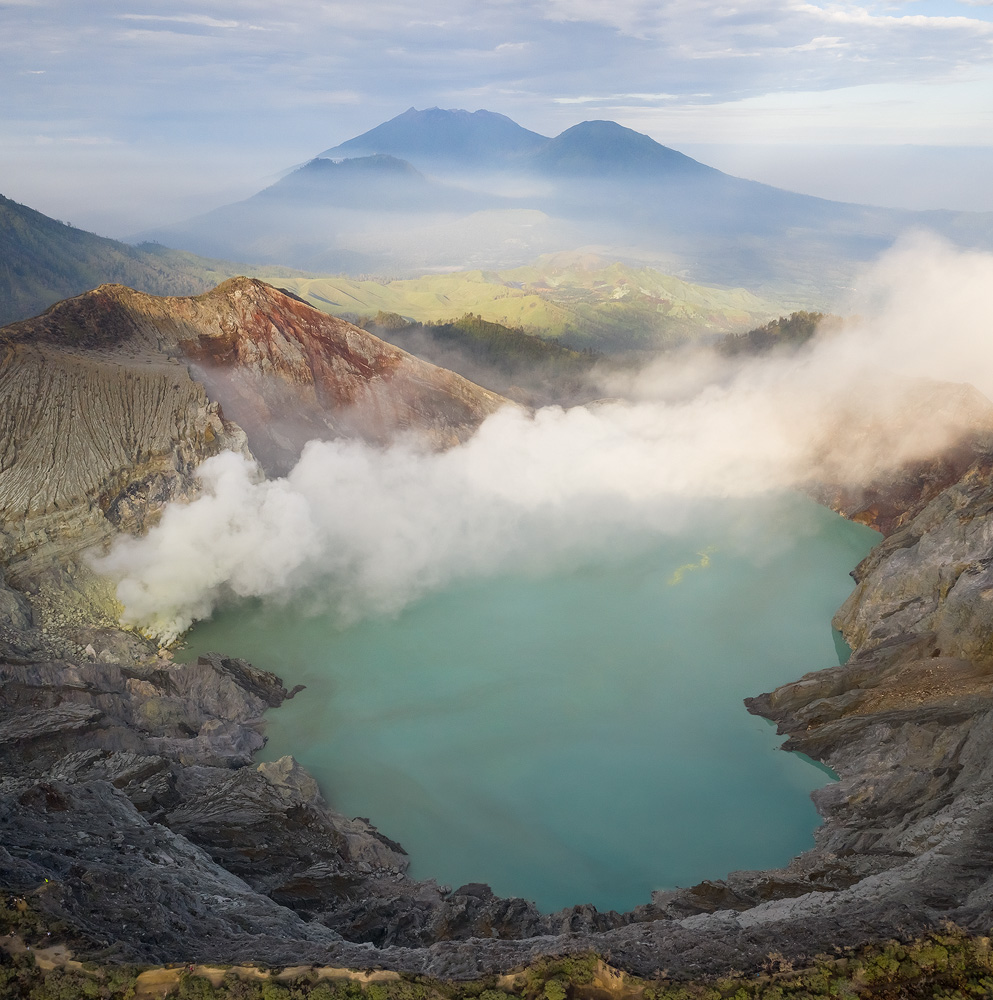 A aerial view of Kawah Ijen. Vertical panorama from 2 shot, taken with DJI Mavic II Pro. The panorama allowed me to capture the entirety of the lake as my foreground, creating a better framing. Shot using a circular polarizer kindly supplied by Polar Pro.