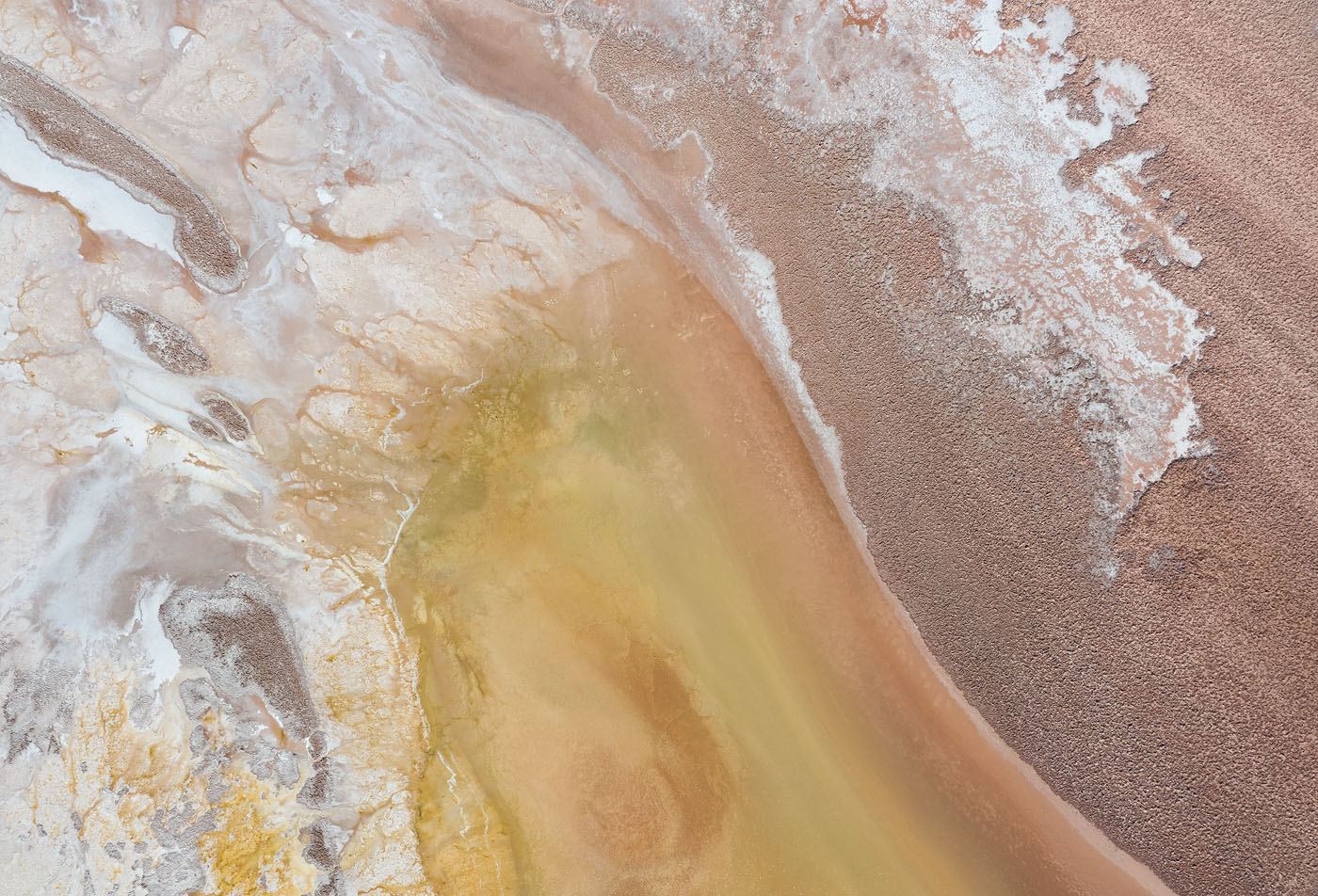 Amazing natural colors and patterns in the Argentinean high-altitude desert. Shooting this top-down gave the image a painting-like appearance.