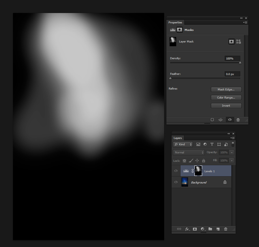 The final mask of the levels adjustment layer. I boosted the contrast only where I wanted it - around the milky way.