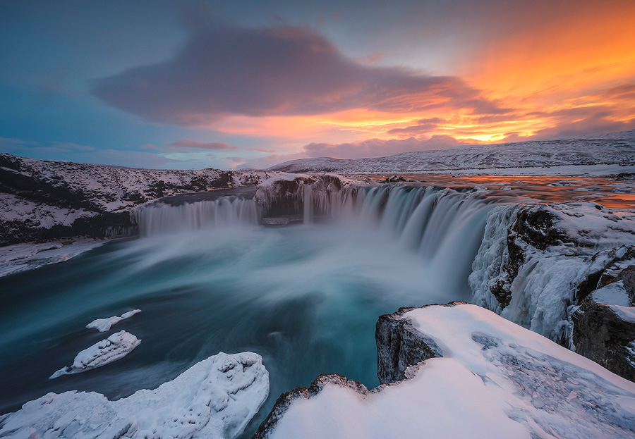 Goðafoss, Iceland at 13mm. The extra width allowed me to get closer to the edge and get a wider view while keeping all the elements I needed in the image, framing the waterfall, with enough space around them to avoid a crowded feel. <br>Canon EOS 5D Mark IV, Canon 11-24mm F4L, Nisi Filters 180mm ND + GND F14, 13sec, ISO100