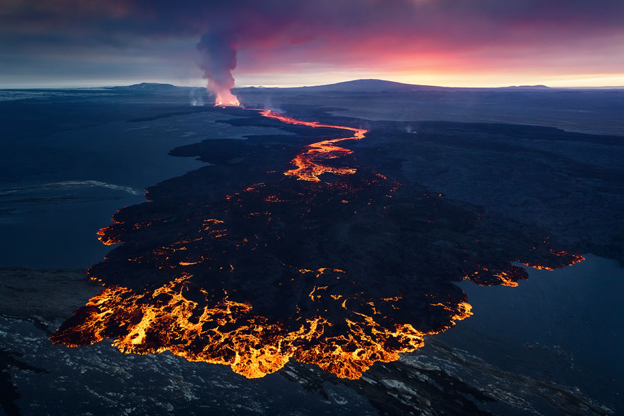 An aerial view of the Holuhraun eruption. The pilot told me this new lava formation hadn't been there the day before - a perfect example of a rapidly-changing landscape.