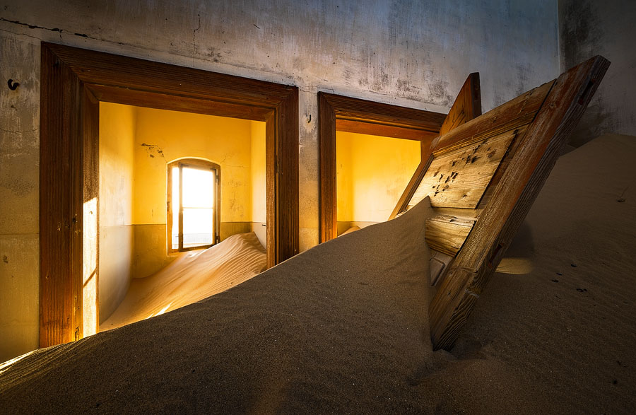 Sand gets everywhere, creating surprising photographic possibilities. Kolmanskop, Namibia