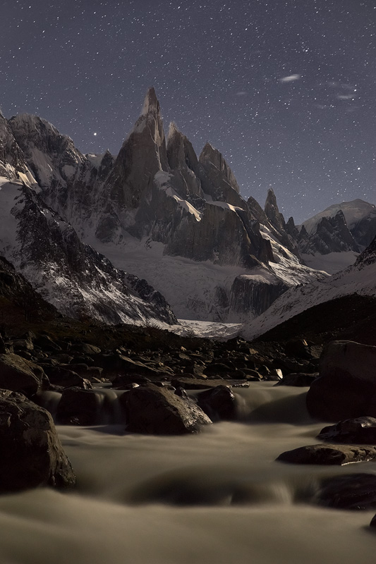 'Night of the Three', Parque Nacional Los Glaciares, Argentinian Patagonia, April 2014. It's much rarer to see images of Cerro Torre under moonlight compared to sunrise or sunset.