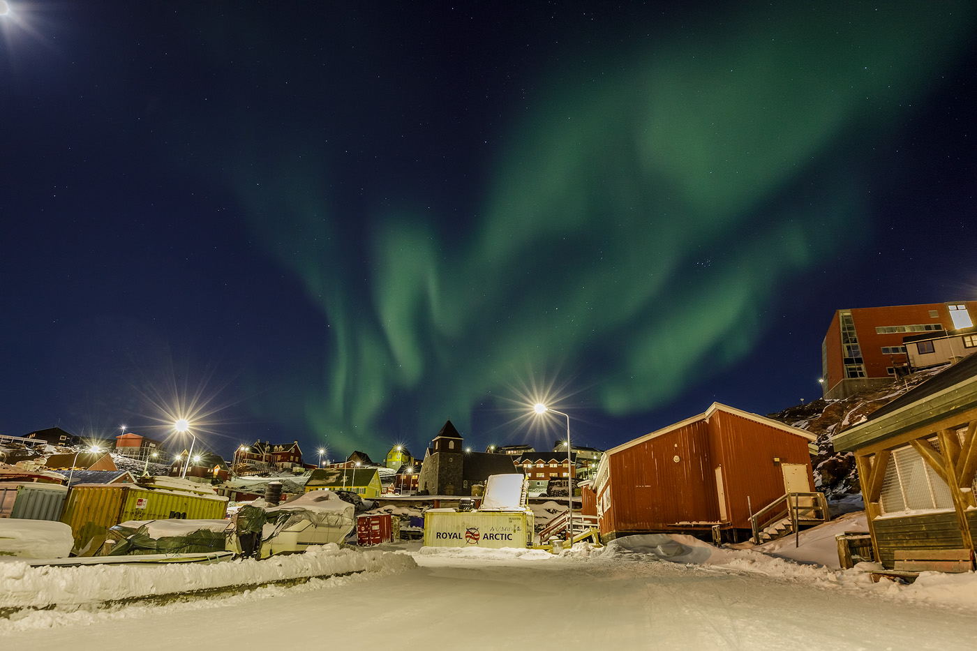 Northern Lights above Uummannaq town
