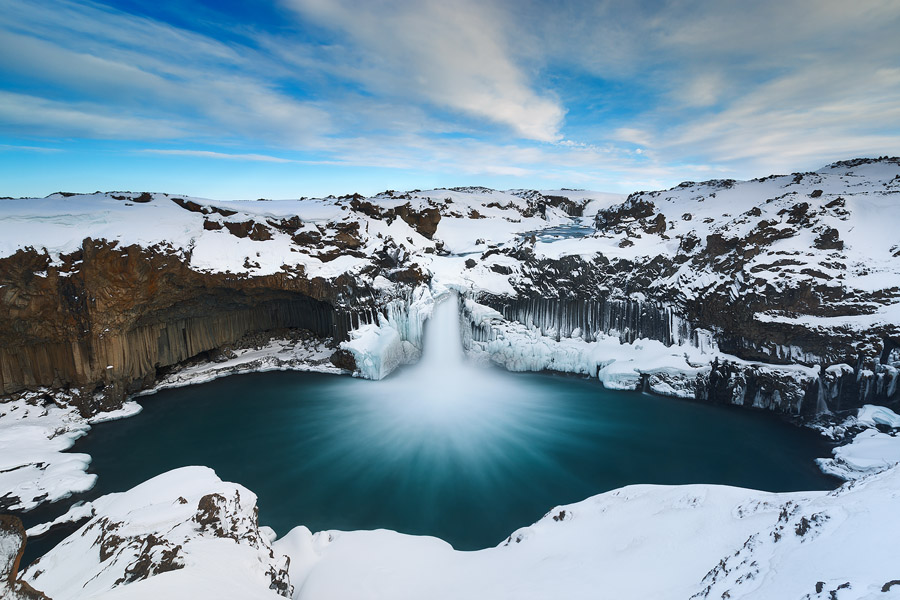 The ice-crusted Aldeyjarfoss