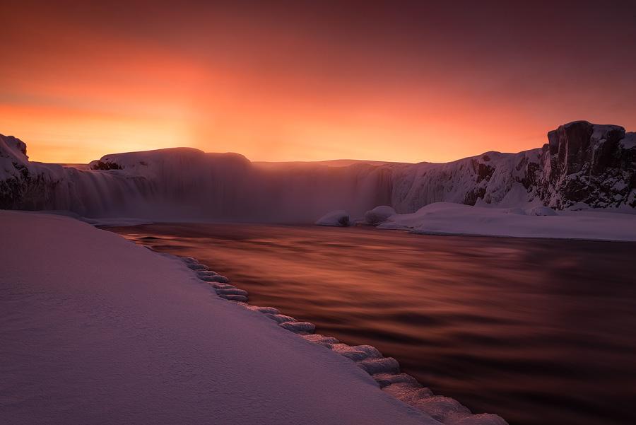 A fiery sunset over Godafoss