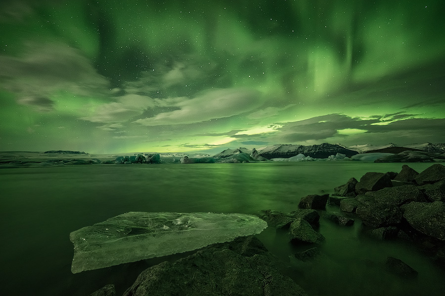 Beautiful Aurora Borealis above the Glacier Lagoon