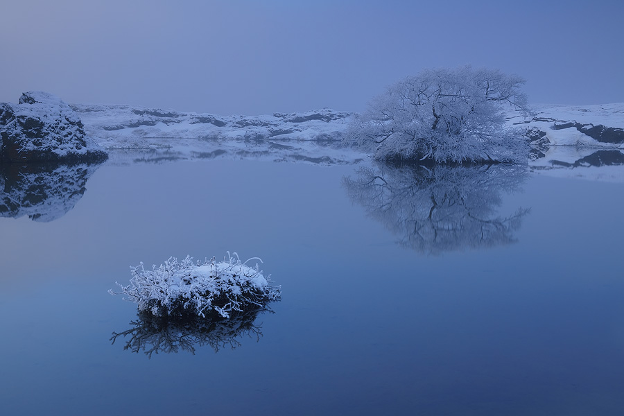 Wonderful winter silence in lake Mývatn