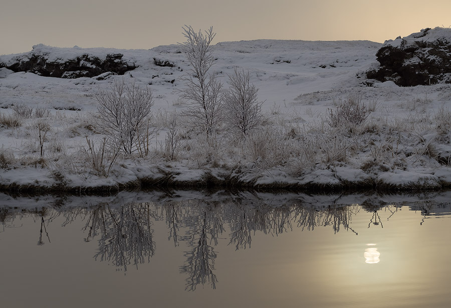 Wintery sunset on lake Mývatn