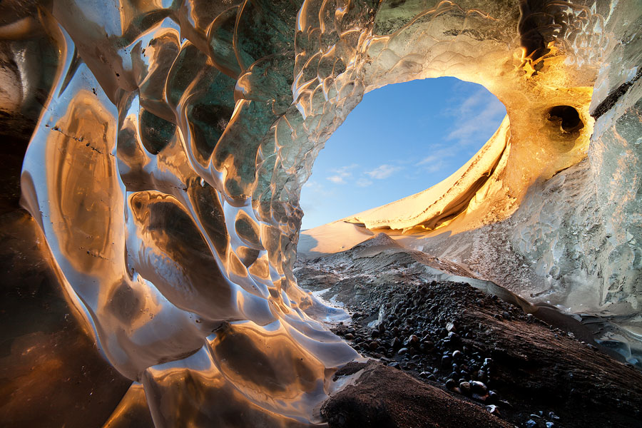 A stunning, spiral-shaped ice cave in Vatnajökull
