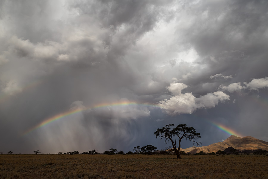 Summer in Namibia means a high probability of thunder storms and rainbows!